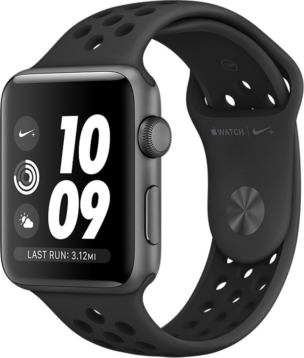Apple Watch Series 3 Nike+ Smartwatch 38mm Spacegrijs Aluminium / Antraciet Zwart Sportband