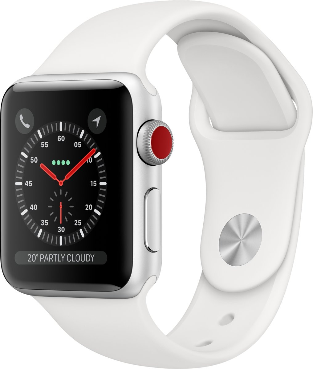 Apple Watch Series 3 GPS Cell 38mm Silver Alu White Band