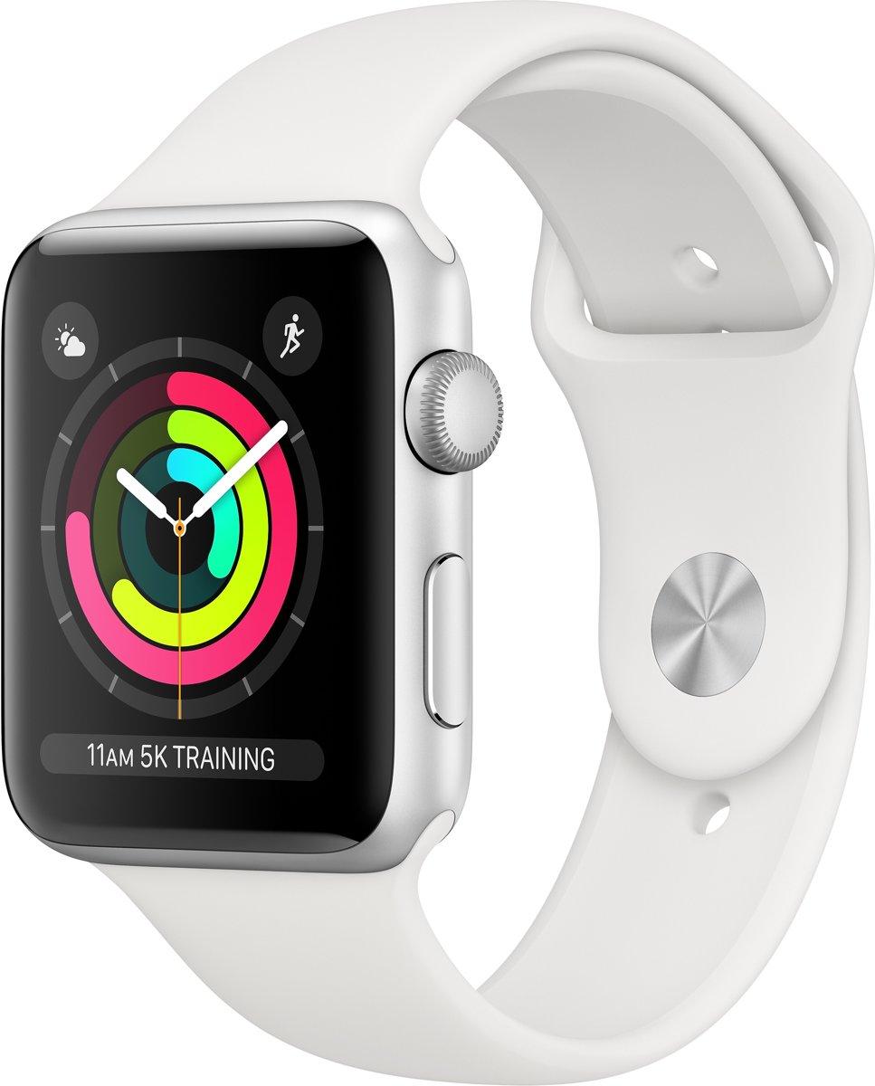 Apple Watch Series 3 - Smartwatch - Zilver/Wit Sportbandje - 42mm