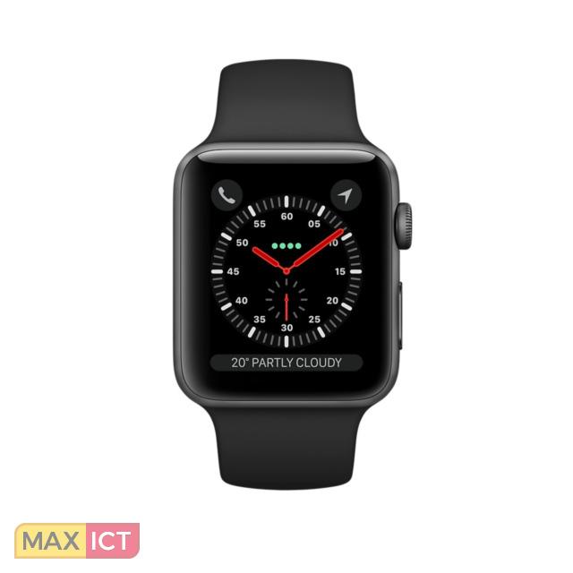 Apple Watch Watch Series 3. Beeldscherm type: OLED, Resolutie: 272 x 340 Pixels, Touchscreen. Flash memory: 16 GB. Wi-Fi. GPS. Cellulair. Levensduur batterij: 18 uur. Gewicht: 28,7 g. Waterdicht tot: 50 m. Materiaal behuiz