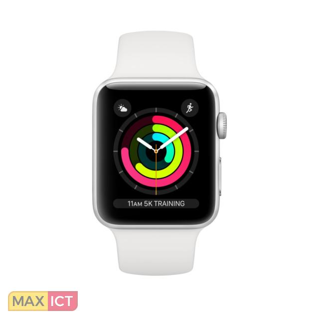 Apple Watch Watch Series 3. Beeldscherm type: OLED, Resolutie: 272 x 340 Pixels, Touchscreen. Flash memory: 8 GB. Wi-Fi. GPS. Gewicht: 26,7 g. Waterdicht tot: 50 m, Materiaal behuizin Aluminium, Kleur behuizin Zilver, Band