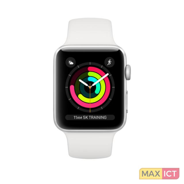 Apple Watch Watch Series 3. Beeldscherm type: OLED, Resolutie: 312 x 390 Pixels, Touchscreen. Flash memory: 8 GB. Wi-Fi. GPS. Gewicht: 32,3 g. Waterdicht tot: 50 m, Materiaal behuizin Aluminium, Kleur behuizin Zilver, Band
