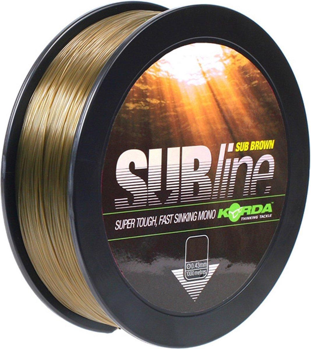 Korda - Subline | Nylon Vislijn | Brown | 15lb | 0.40mm | 1000m - Bruin