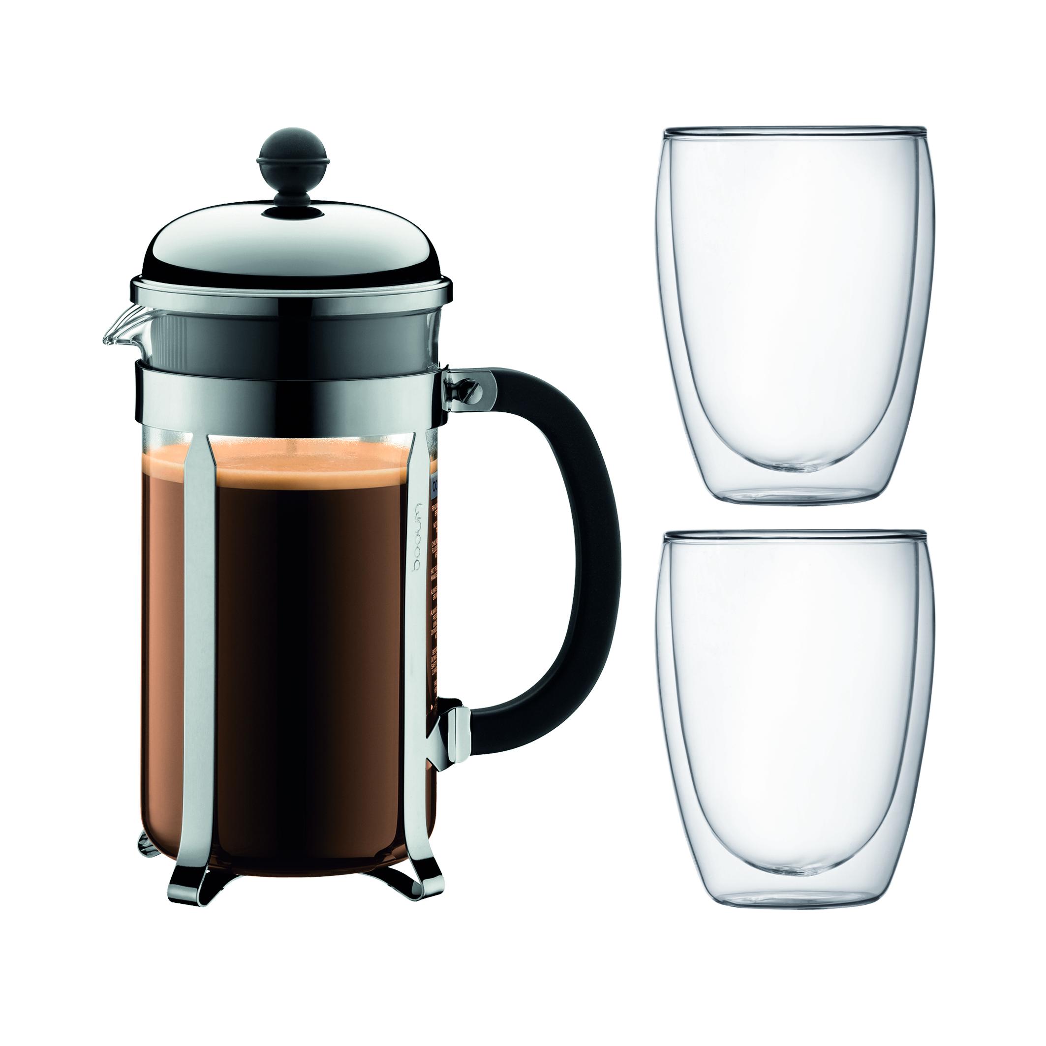 Bodum Cafeti?re Chambord 1 Liter + 2 Dubbelwandige Glazen