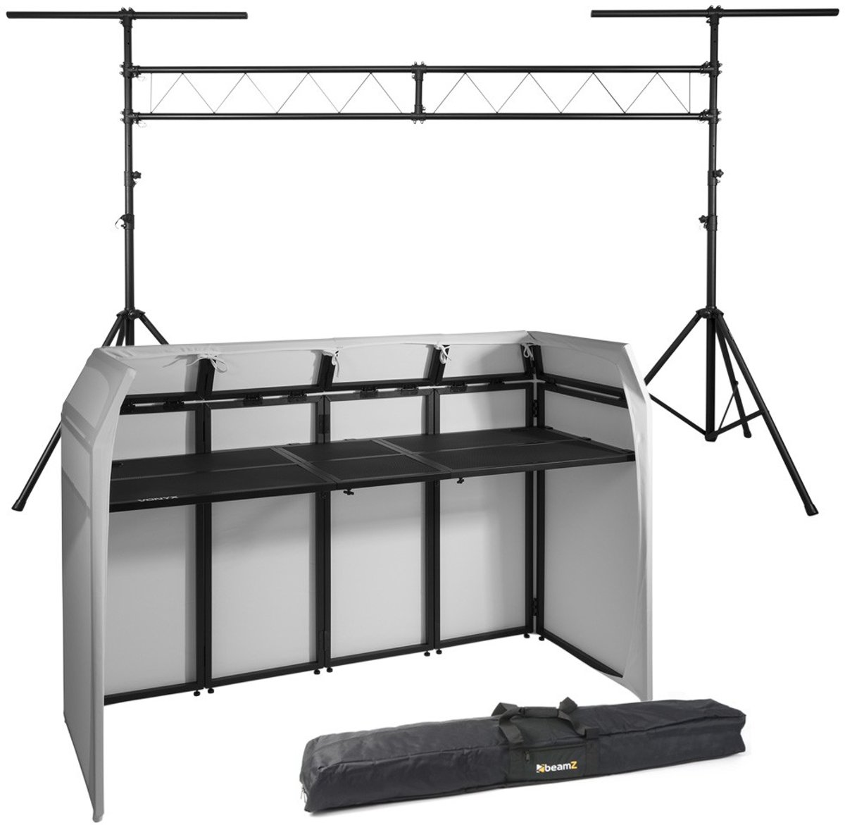 Complete Vonyx DB5 DJ Booth met T-bar lichtbrug incl. tassen