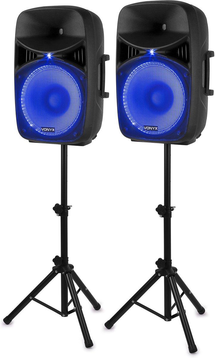 Vonyx VPS152A complete geluidsinstallatie actief / passief 1000W met o.a. Bluetooth, LED's