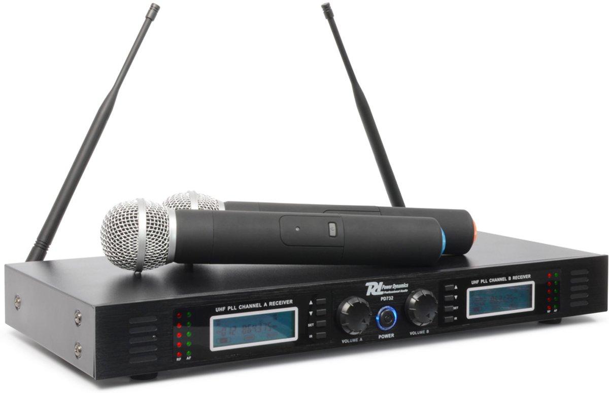 Power Dynamics PD732H 2x 16-Kanaals UHF Draadloos Microfoonsysteem True Diversity incl. 2 Microfoons