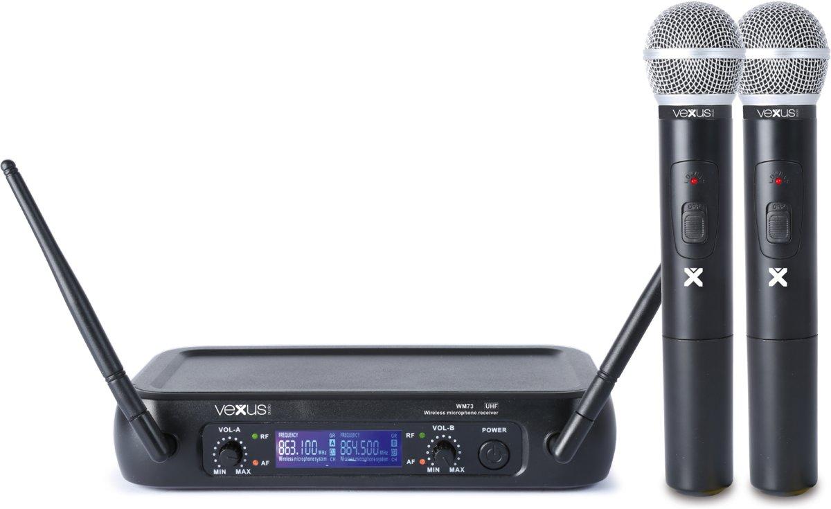 Vonyx WM73 2-Kanaals UHF Draadloos Microfoonsysteem met Handheldmicrofoons en Display
