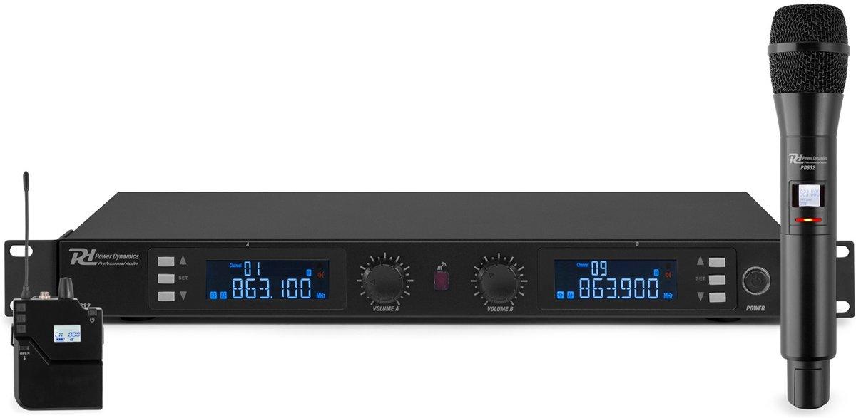Power Dynamics PD632C UHF draadloos microfoonsysteem met headset en handheld microfoon
