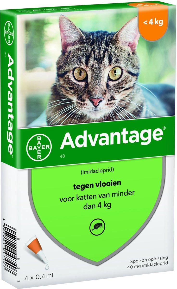 Advantage 40 Tegen Vlooien - <lt/>4kg - 4 x 0,4 ml - Adult