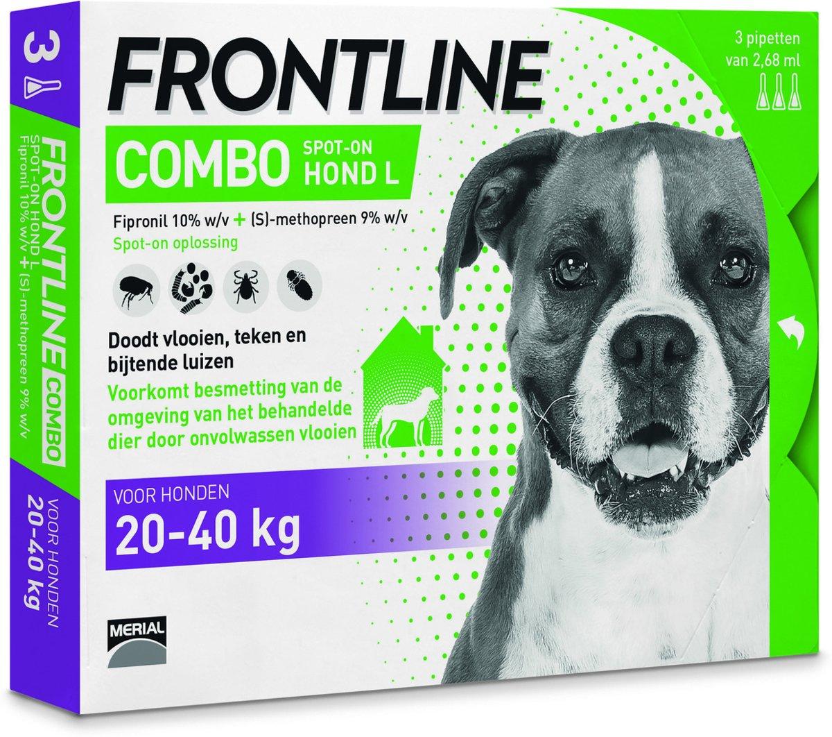 Frontline Combo - L: van 20 tot 40 kg - Anti vlooienmiddel en tekenmiddel - Hond - 3 pipetten