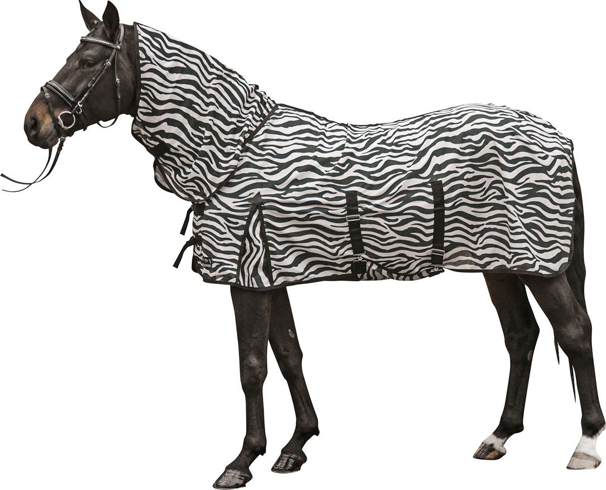 Vliegendeken met hals -Zebra- met buikflap wit/zwart 95 ruglengte
