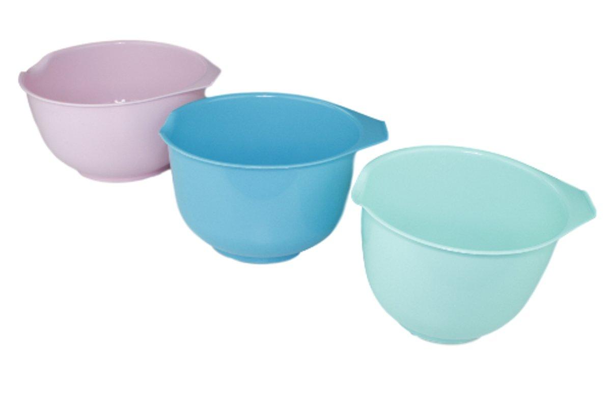 Beslagkommen set - Roze/Blauw/Turquoise - Schalen - Mengkommen - 3 delig - Kunststof - 1.5L/2L/2.5L