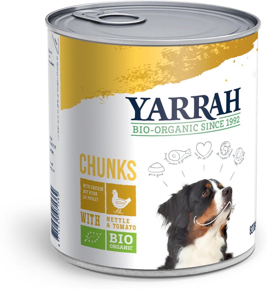 Yarrah Biologische Hondenvoer - Brokjes In Saus Kip - 820  gr