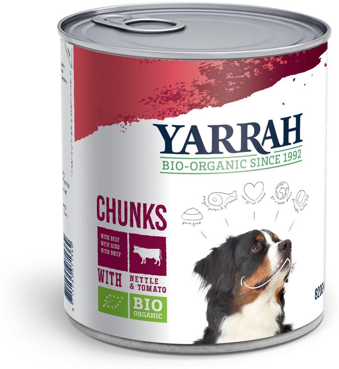 Yarrah Dog Blik Hondenvoer Brokjes Vlees in Saus met Brandnetel En Tomaat