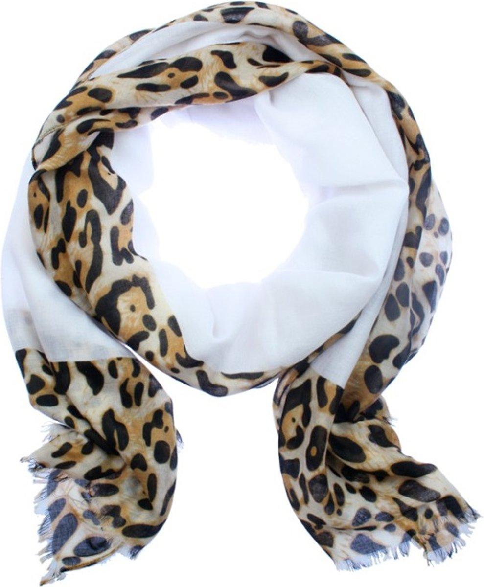 Sjaal Wit met Leopard Rand