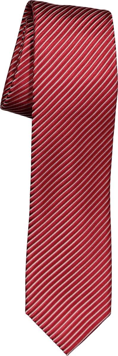 OLYMP stropdas - rood-grijs gestreept