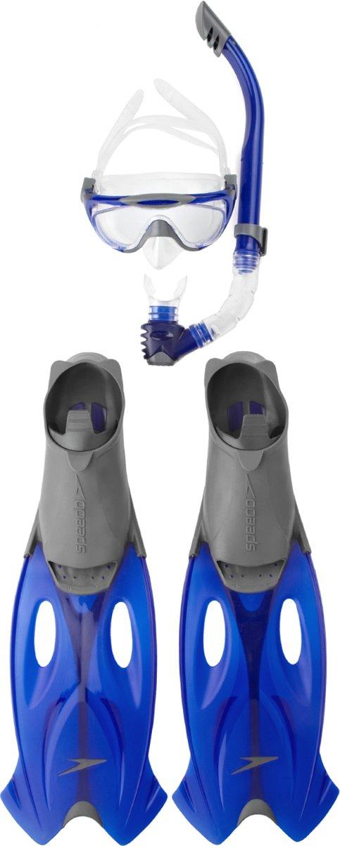 Speedo Glide Set (Mask/Snorkel/Fins) Unisex Snorkelset - Grijs-Blauw - Maat 43-44