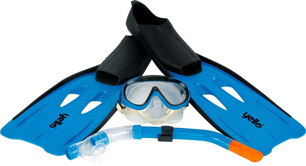 Yello Snorkelset - Snorkel, masker en flippers - Blauw - Maat 44-45
