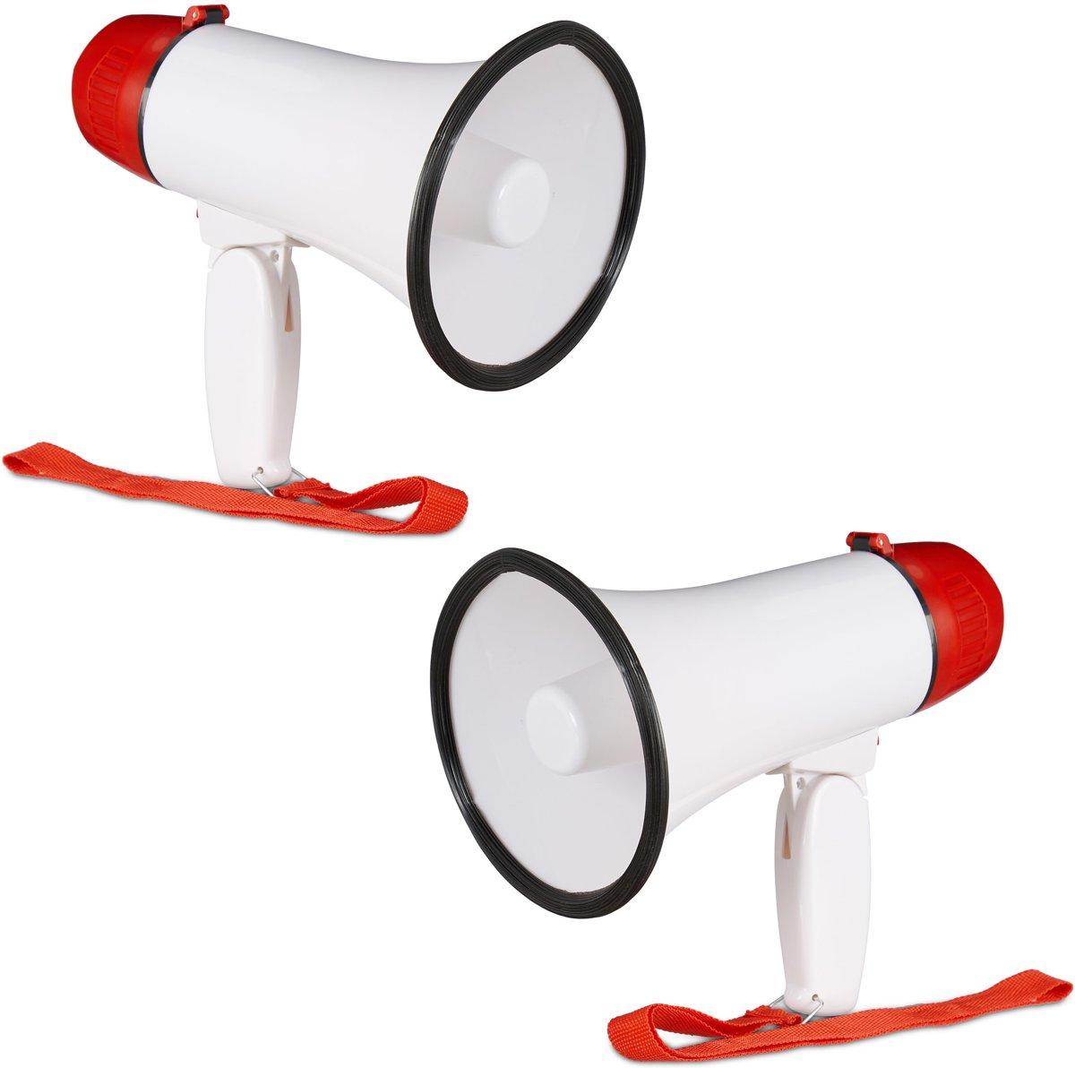 relaxdays 2 x megafoon grappig - megaphone kunststof - wit-rood - stemversterker - 10 watt