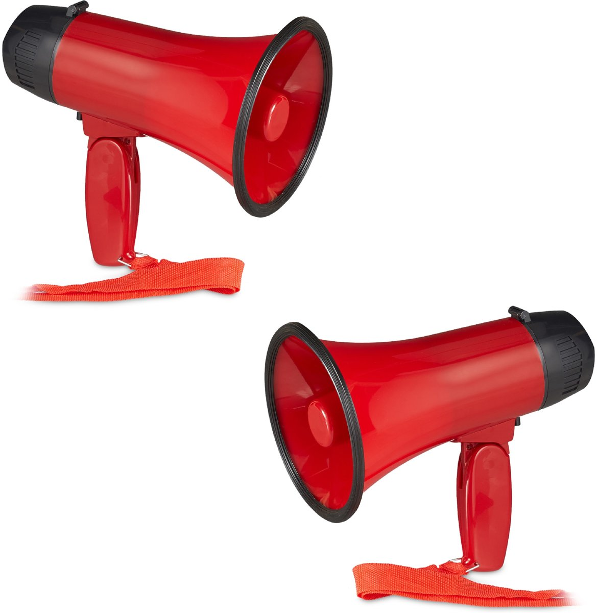relaxdays 2 x megafoon grappig - megaphone kunststof - rood - stemversterker - 10 watt