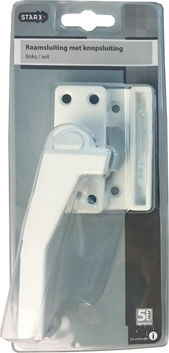 STARX raamsluiting met drukknop links, wit, binnen- en buitendraaiende ramen, met kierstand