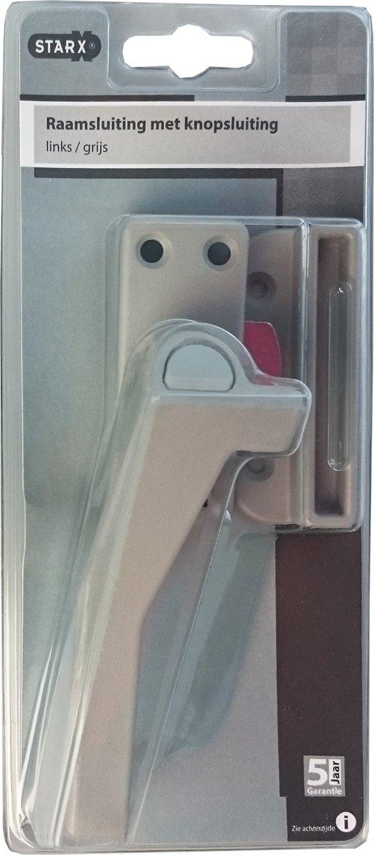STARX raamsluiting met drukknop links, grijs, binnen- en buitendraaiende ramen, met kierstand