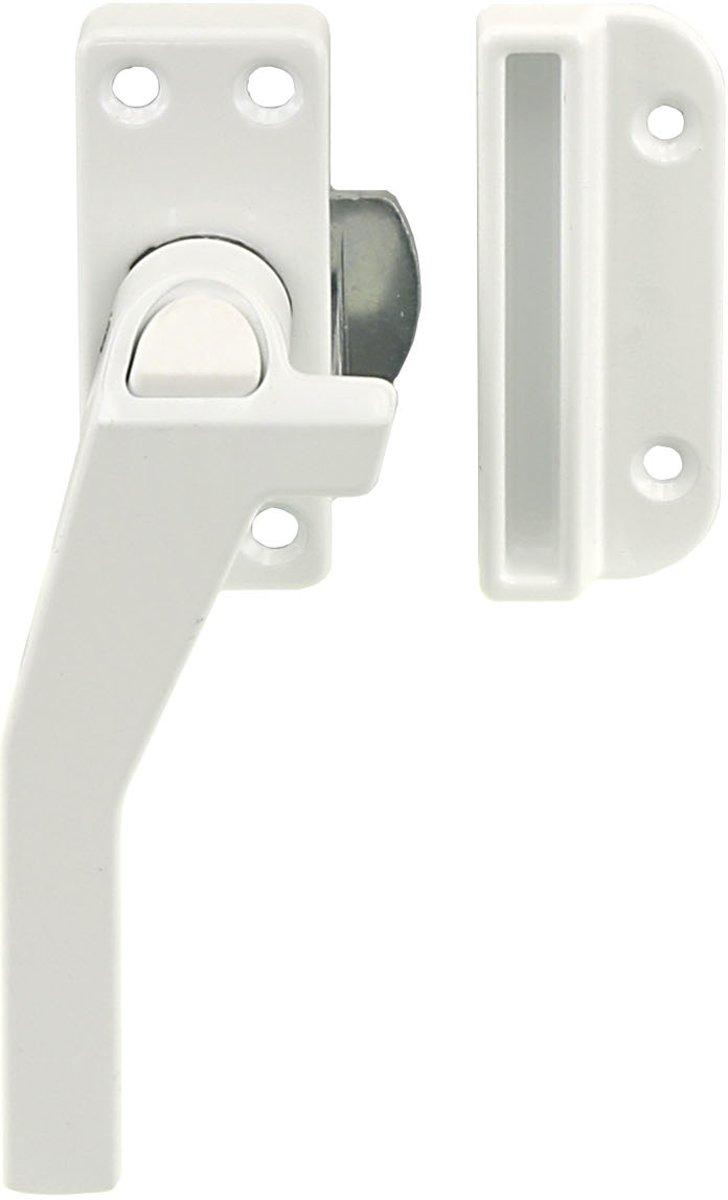 STARX raamsluiting met drukknop rechts, wit, binnen- en buitendraaiende ramen, met kierstand. DIN rechts
