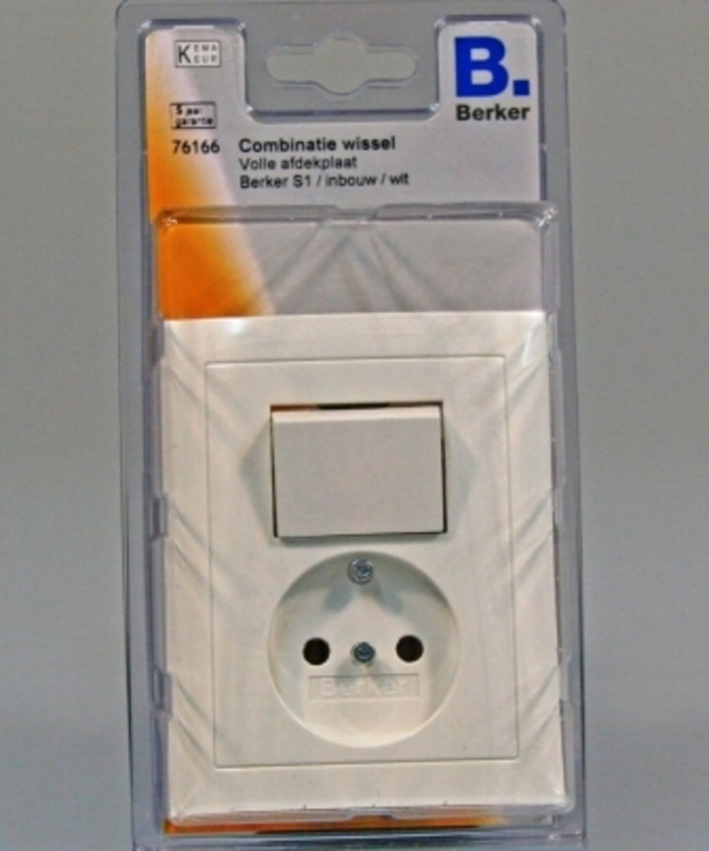 BERKER S1 enkele wipschakelaar met stopcontact enkel, volle afdekplaat, inbouw | WIT