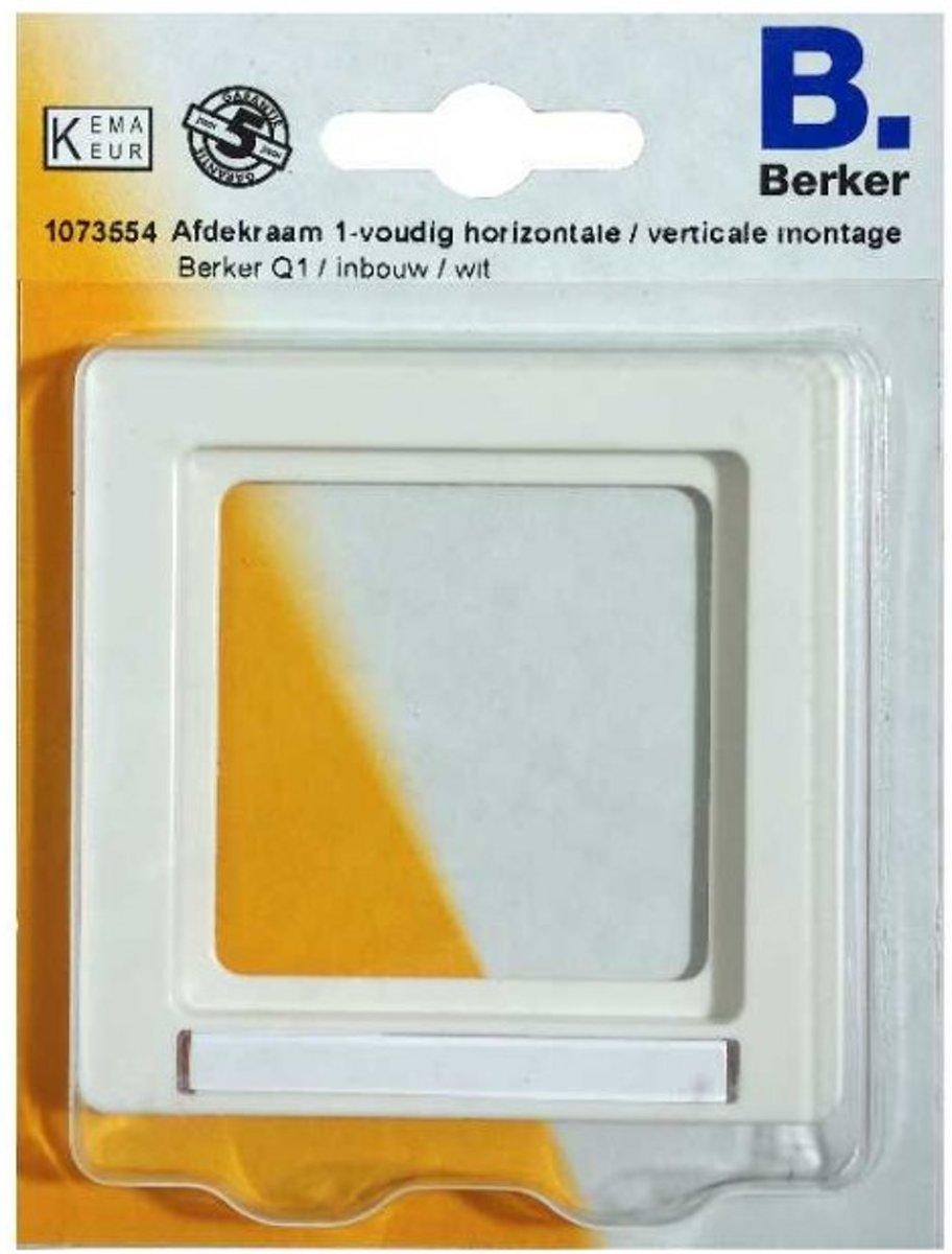 BERKER Q1 afdekraam 1-voudig, inbouw, 1 labelhouder   WIT