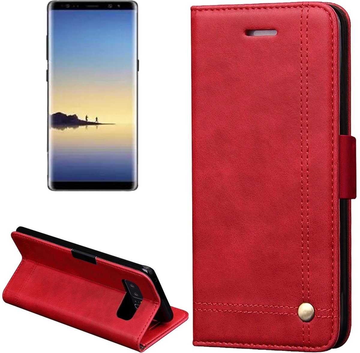 Tuff-luv - Faux leren book-stand case voor de Samsung Galaxy note 8 - rood