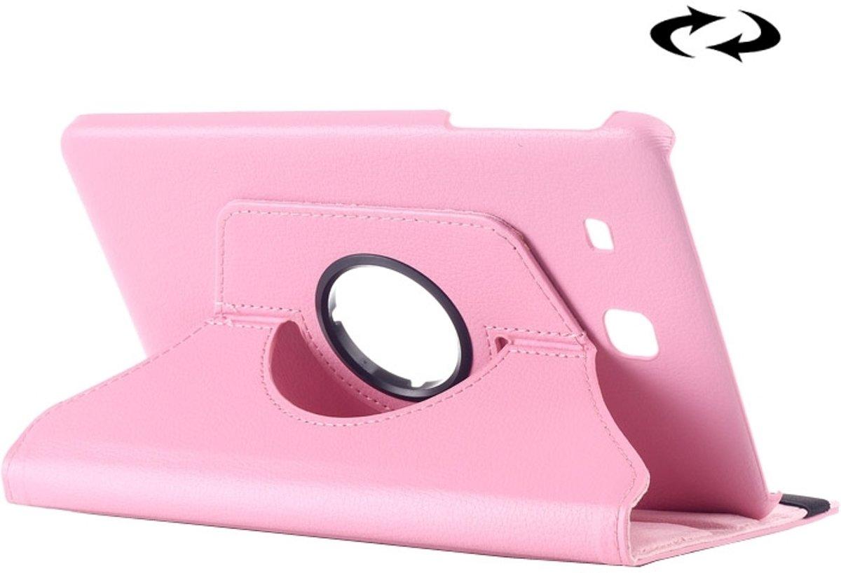 Samsung Galaxy Tab E 9.6 horizontaal Litchi structuur PU leren Flip Hoesje met 360 graden draaiende houder (roze)