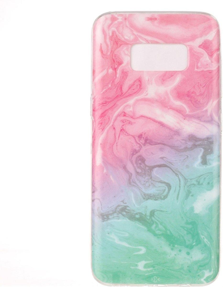 Samsung Galaxy S8 Artistiek roze groen marmer patroon beschermend zacht TPU back cover Hoesje