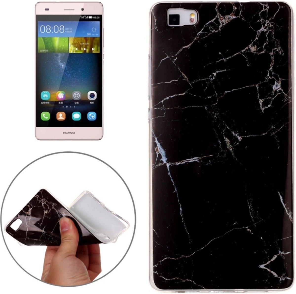 Huawei P8 Lite Zwart marmer patroon beschermend zacht TPU Back Cover Hoesje