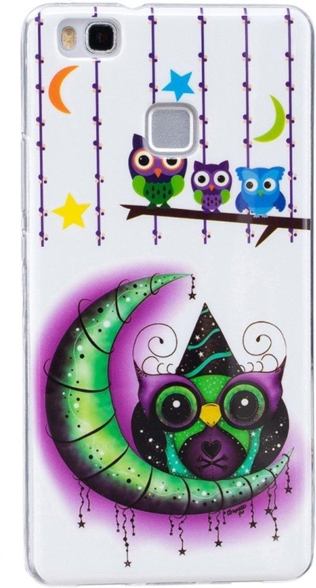 Huawei P9 Lite Nachtlichtend maan en uil patroon zacht beschermend IMD vervaardigd TPU Hoesje