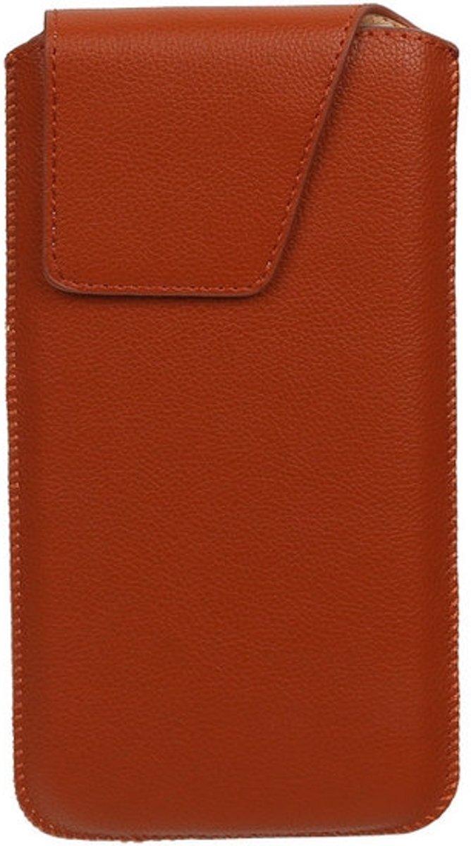 BestCases.nl Huawei Ascend P2 - Universele Leder look insteekhoes/pouch Model 1 - Bruin Medium