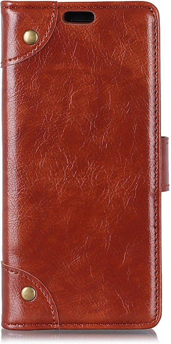 Mobigear Nappa Copper Buckle Wallet Hoesje Bruin Huawei Mate 20 Lite