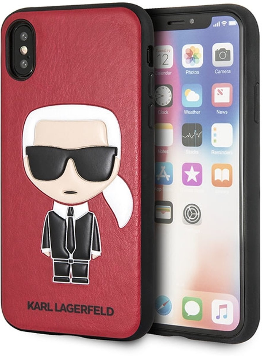 Karl Lagerfeld Backcover hoesje Rood - Cool Karl Red - TPU - iPhone X en  iPhone Xs  - Siliconen rand