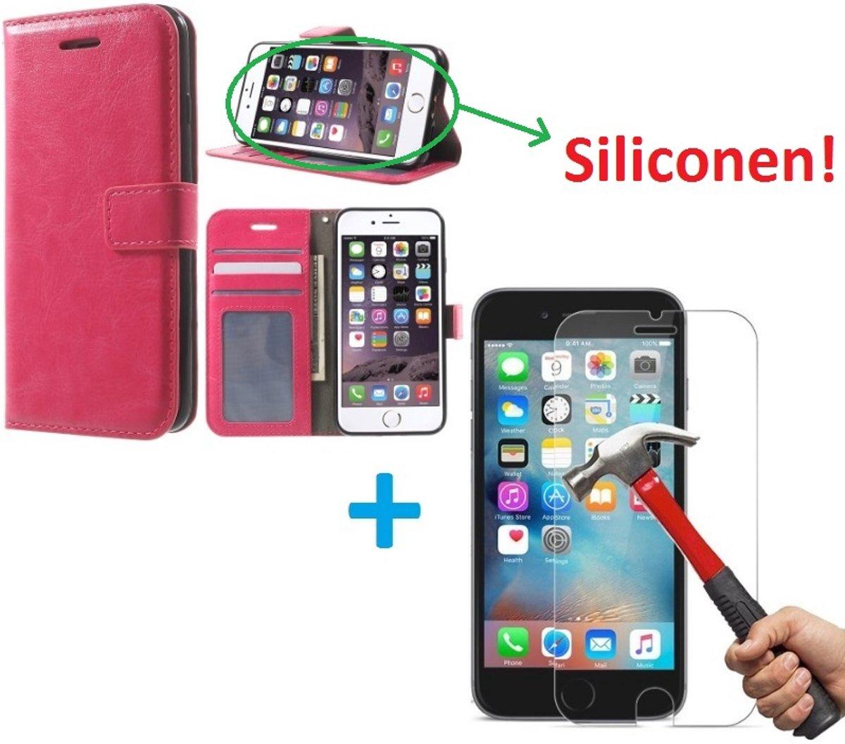 iPhone 5 5S Portemonnee hoes roze met Tempered Glas Screen protector