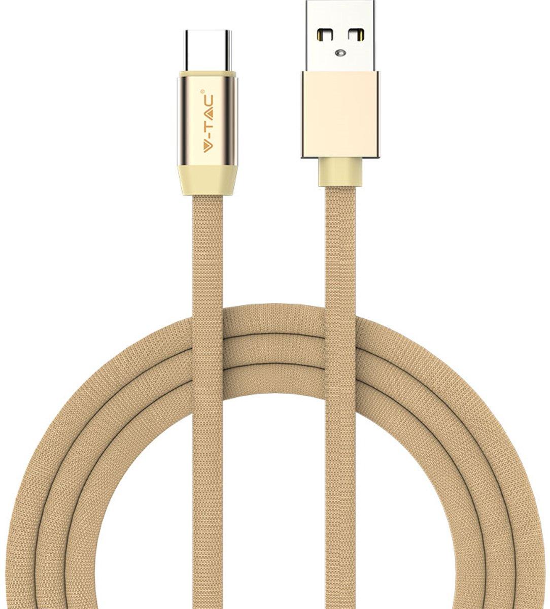 V-tac VT-5342 Type-C naar USB gevlochten kabel - 2.4A snel laden - 1 meter - goud