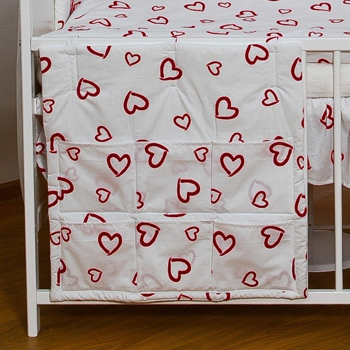Organizer - 60x60cm voor ledikant - rode hartjes