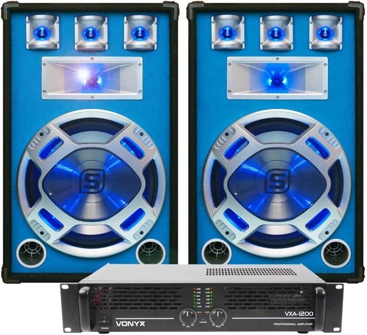 Complete DJ-set; SkyTec LED15 1600W PA Versterker met 2 Disco Luidsprekers MKII