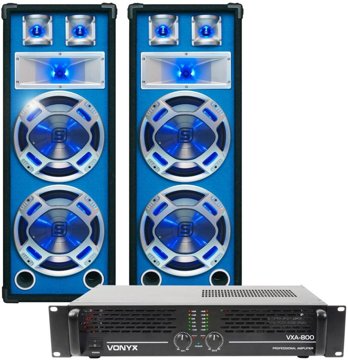 Complete DJ-set; SkyTec LED208 1200W PA Versterker met 2 Disco Luidsprekers MKII