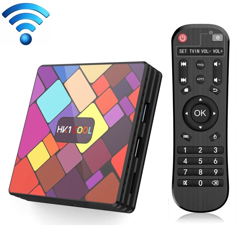 HK1COOL 4K UHD Smart TV box met afstandsbediening Android 9 0 RK3318 Quad-Core Cortex-A53 2GB + 16GB ondersteuning WiFi & BT & AV & HDMI & RJ45 & TF-kaart