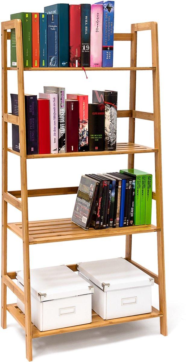 relaxdays - boekenkast bamboe - boekenrek - opbergrek - wandrek - rek - hout