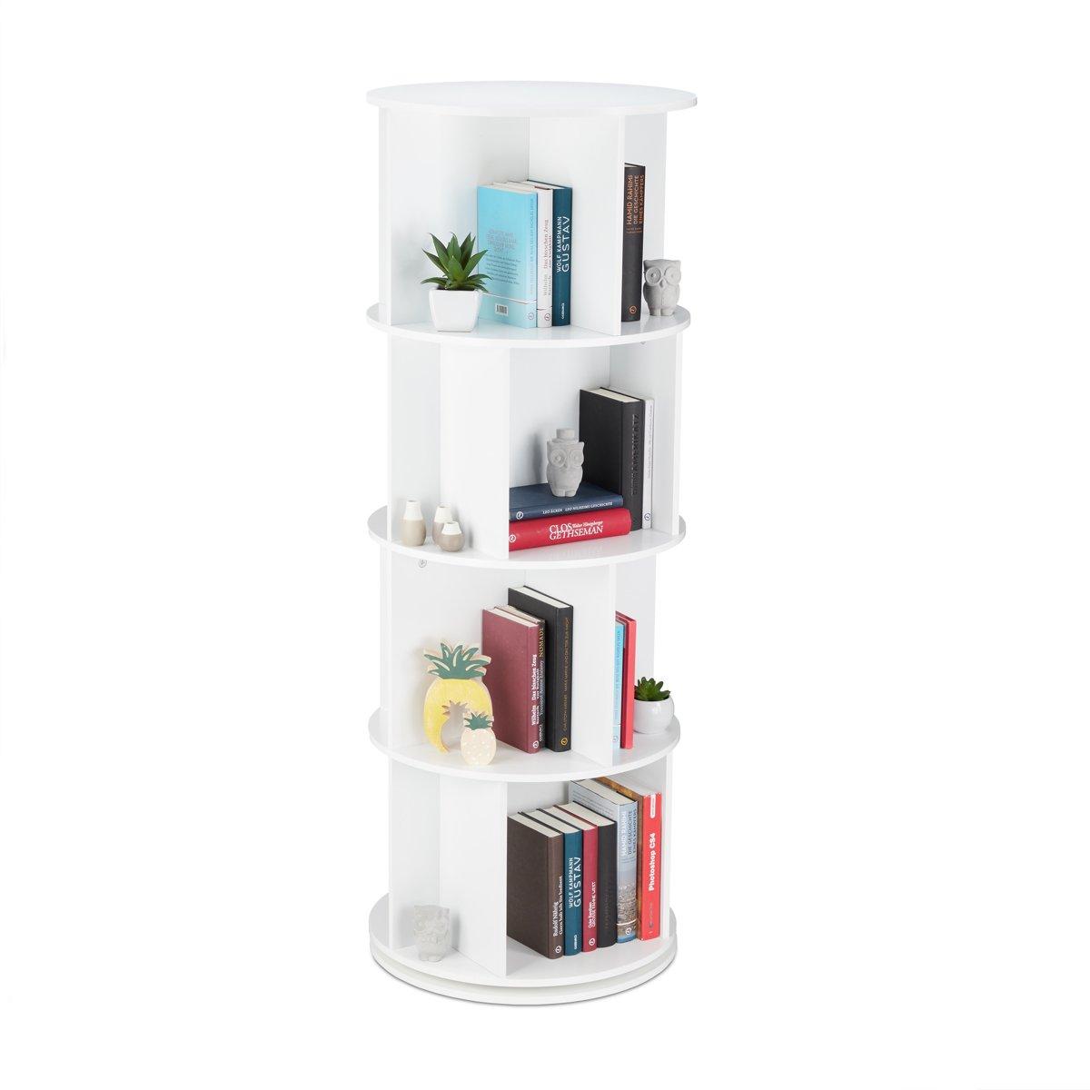 relaxdays Boekenkast - draaibaar - boekenrek - rond - opbergrek - 20 vakken