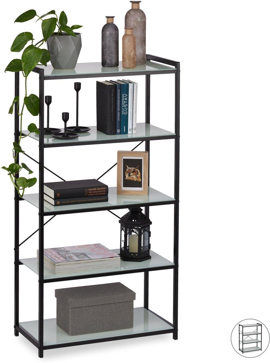 relaxdays boekenkast glas - staand rek metaal - badkamerrek - boekenrek - keuken - zwart 5