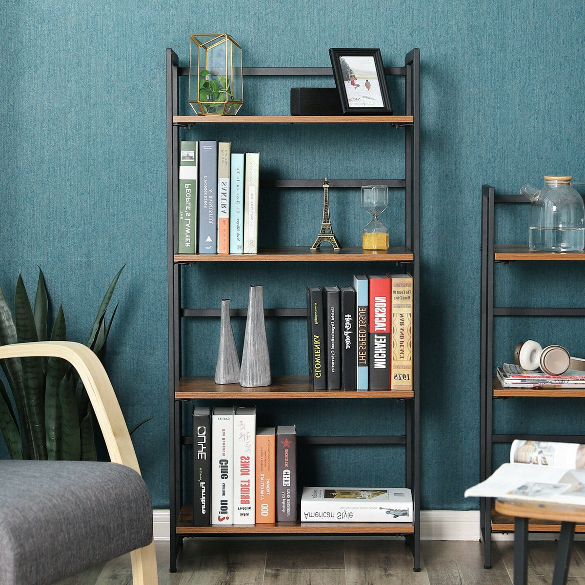 Inklapbare boekenkast in hout en metaal - bruin