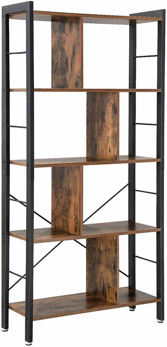 Acaza Boekenkast - Industri?le Look - Hout/Metaal -74x30x155cm - Zwart/Bruin