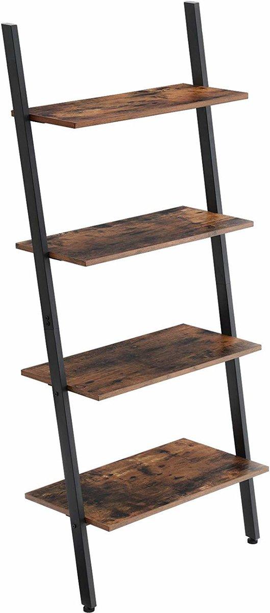 Boekenkast of Wandkast in Ladder Vorm met 4 Houten Planken - Decoratieve Ladder - 64x35x150cm - Zwart/Bruin